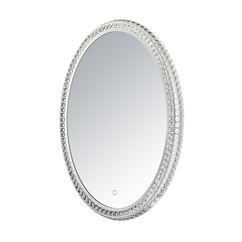 Crystal Mirror Stainless Steel 24-Inch One-Light ADA LED Crystal Oval Mirror