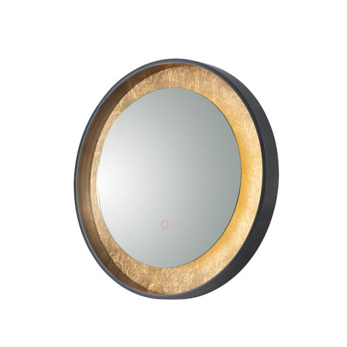 Floating Gold Leaf and Black 24-Inch LED Lighted Mirror
