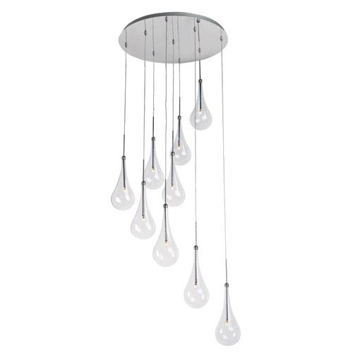 ET2 Larmes LED Polished Chrome 22-InchNine Light Single Pendant