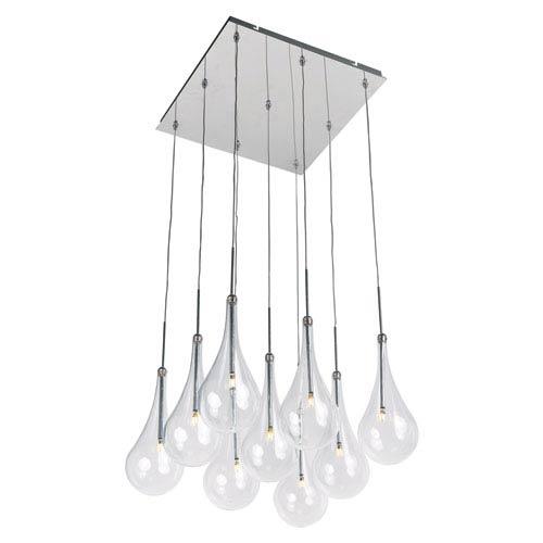 ET2 Larmes LED Polished Chrome 12-Inch Nine Light Single Pendant