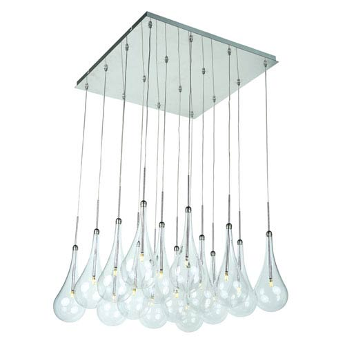 ET2 Larmes LED Polished Chrome 19-Inch 16 Light Light Pendant