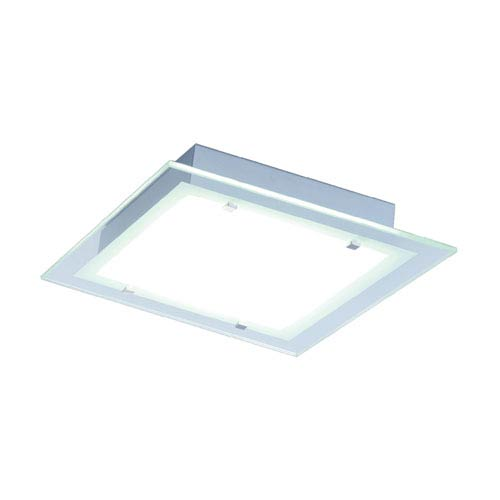Contempra Brushed Aluminum Fluorescent Two Light Flush Mount with Clear Glass