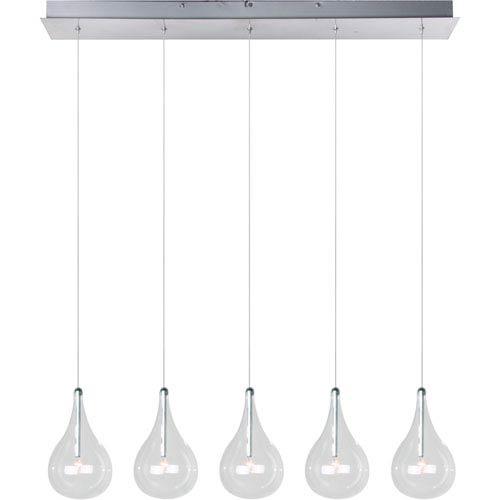 Larmes Polished Chrome Five-Light Island Pendant with Clear Glass