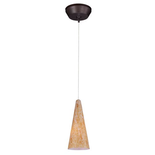 Lava Bronze One-Light 5-Inch RapidJack Mini Pendant with Gold Lava Glass