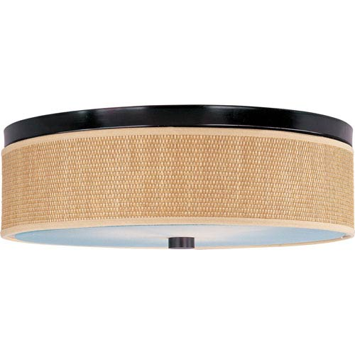 Elements Oil Rubbed Bronze Three-Light Flush Mount with Grass Cloth Natural Fiber Shade