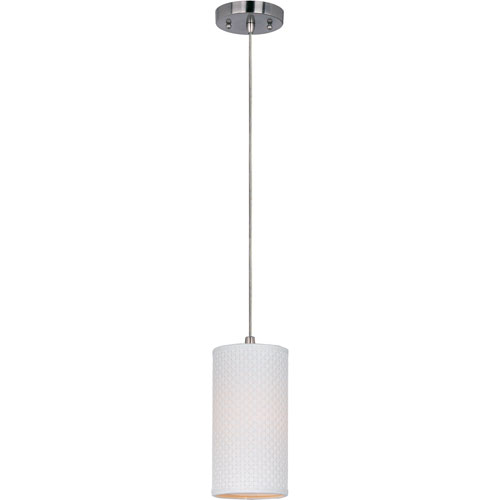 ET2 Elements Satin Nickel One-Light Mini Pendant with White Weave Vinyl Shade