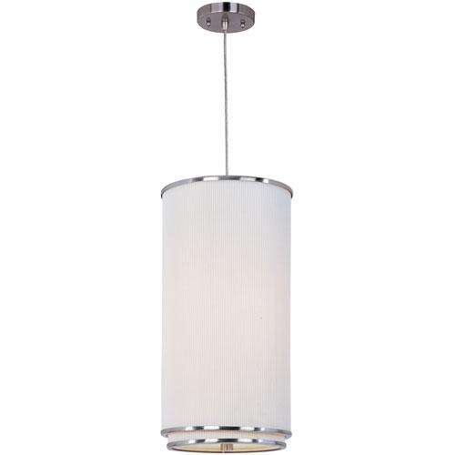 Elements Satin Nickel One-Light Mini Pendant with White Pleat Linen Shade