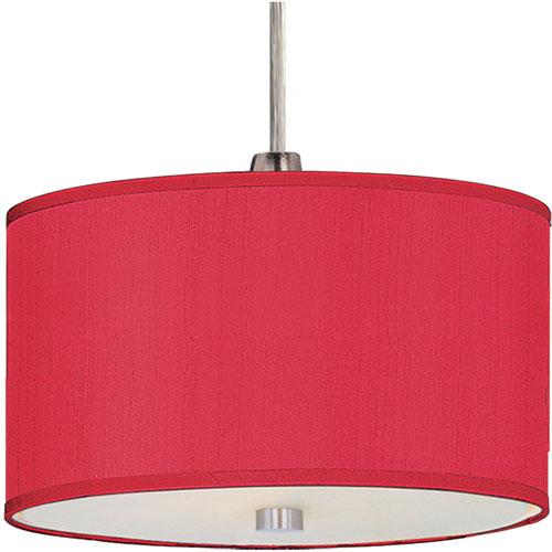ET2 Elements Satin Nickel One-Light RapidJack Round Mini Pendant with Crimson Shade