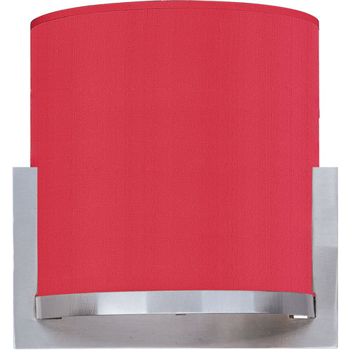 ET2 Elements Satin Nickel One-Light Wall Sconce with Crimson Silk Shade
