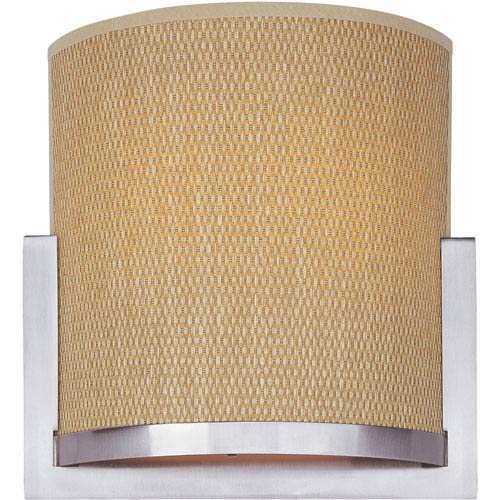 ET2 Elements Satin Nickel One-Light Wall Sconce with Grass Cloth Natural Fiber Shade