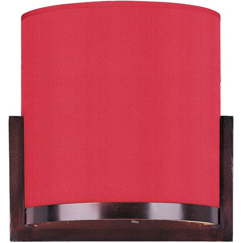 ET2 Elements Oil Rubbed Bronze One-Light Wall Sconce with Crimson Silk Shade