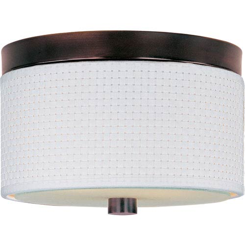 ET2 Elements Oil Rubbed Bronze Two-Light Flush Mount with White Weave Vinyl Shade