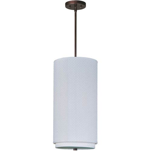 ET2 Elements Oil Rubbed Bronze One-Light Mini Pendant with White Weave Vinyl Shade
