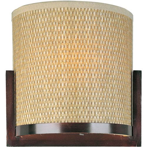 Elements Oil Rubbed Bronze Two-Light Wall Sconce with Grass Cloth Natural Fiber Shade
