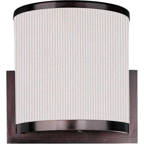 ET2 Elements Oil Rubbed Bronze Two-Light Wall Sconce with White Pleat Linen Shade