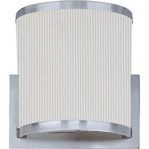 Elements Satin Nickel Two-Light Wall Sconce with White Pleat Linen Shade