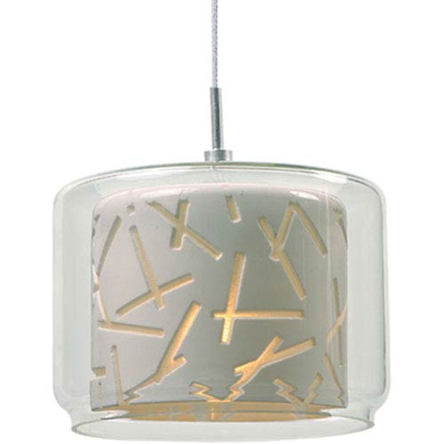 ET2 Minx Satin Nickel One-Light RapidJack Mini Pendant with Clear and White Glass Shade