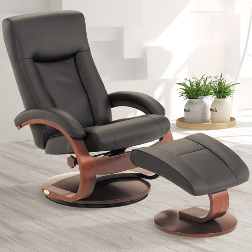 Black Top Grain Leather Swivel, Recliner with Ottoman
