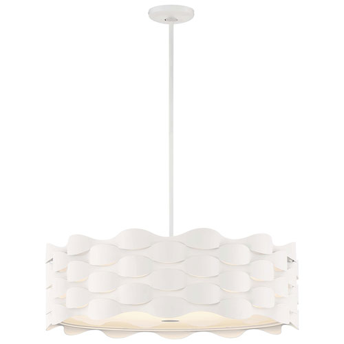 Coastal Current Sand White LED Pendant with White Linen Shade