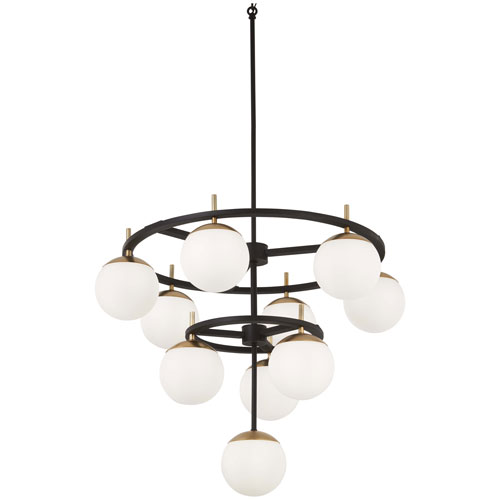 George Kovacs Alluria Weathered Black with Autumn Gold 10-Light Chandelier