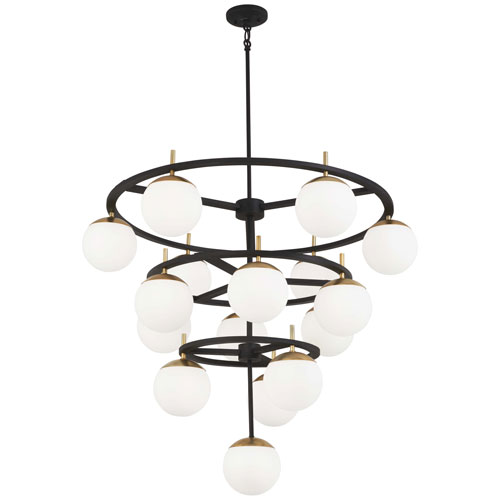 Alluria Weathered Black with Autumn Gold 16-Light Chandelier
