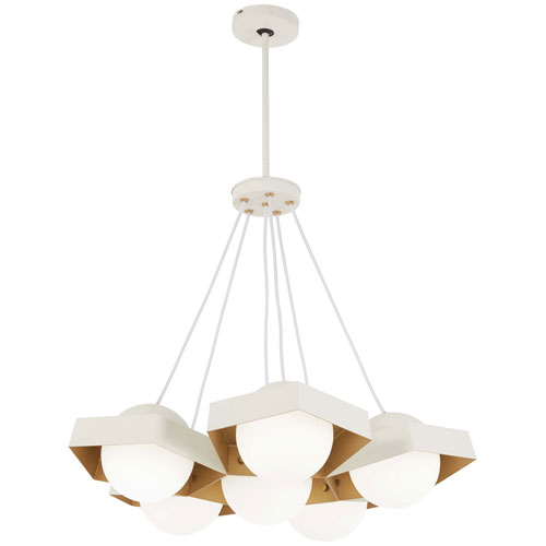 Five-O Textured White with Gold Leaf LED Chandelier