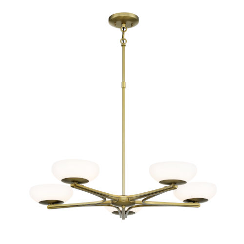Soft Brass Finish LED Five-Light 30-Inch chandelier  With Etched Opal Glass