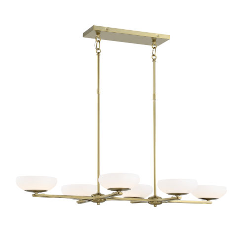 Soft Brass Finish LED Six-Light 40-Inch island With Etched Opal Glass