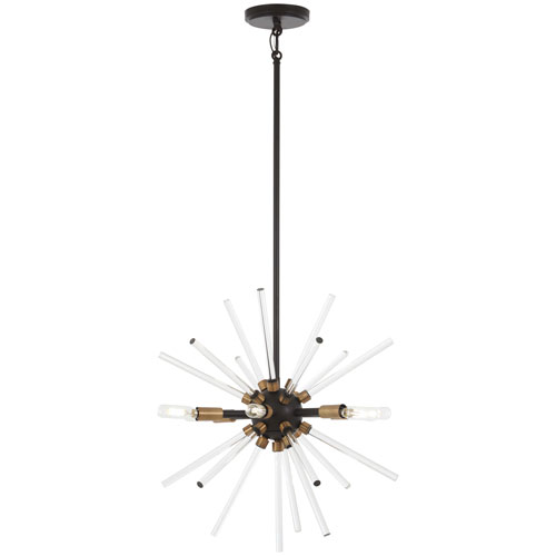Spiked Painted Bronze with Natural Brass 18-Inch Six-Light Pendant