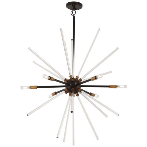 Spiked Painted Bronze with Natural Brass 31-Inch Six-Light Pendant