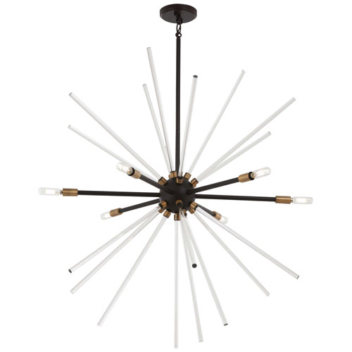 Spiked Painted Bronze with Natural Brass 35-Inch Six-Light Pendant