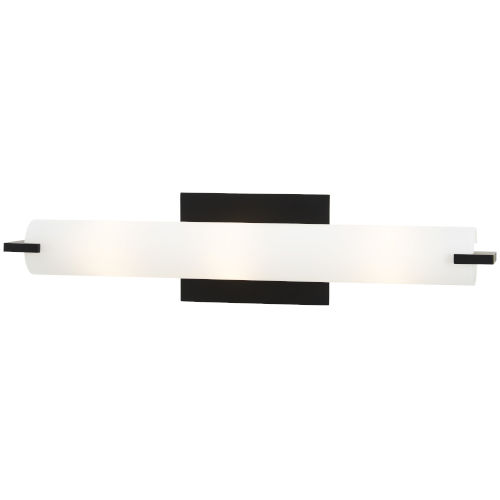 Coal and White Three-Light Bath Bar with Etched Opal Glass