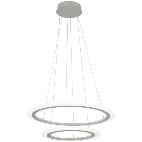 Discovery Silver 24-Inch LED Two-Ring Pendant