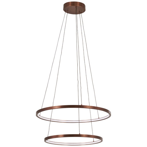 George Kovacs Full Orbit Satin Bronze 24-Inch LED Two-Ring Pendant