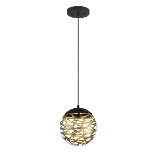 Coal and Honey Gold LED One-Light 7.88-Inch mini pendant With Honey Gold Steel