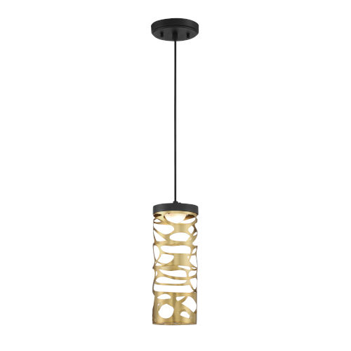 Coal and Honey Gold LED One-Light 4.5-Inch mini pendant With Honey Gold Steel