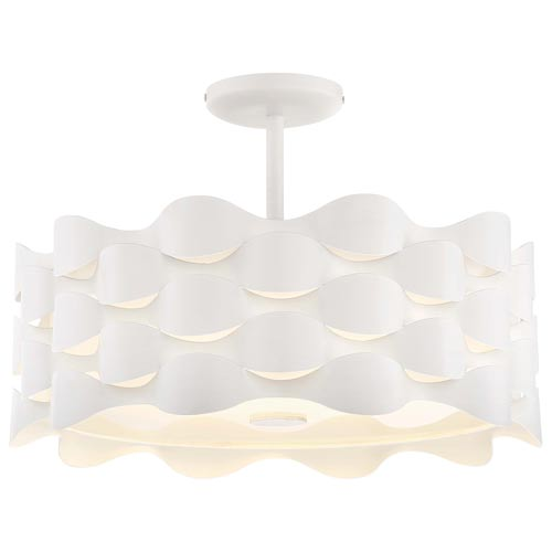 Coastal Current Sand White LED Semi-Flush Mount