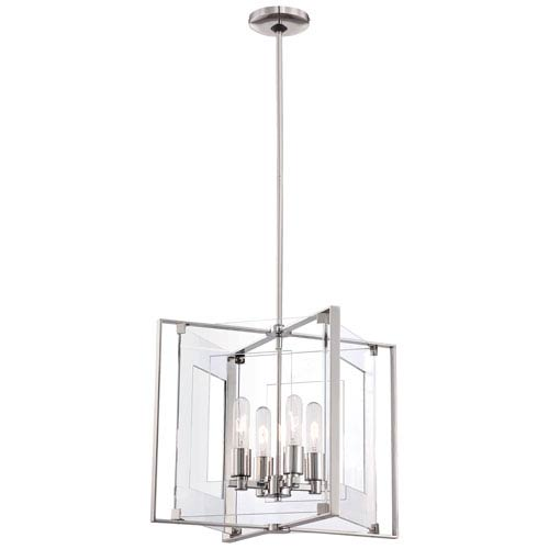 Crystal Clear Polished Nickel Four-Light Pendant