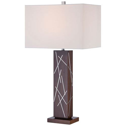Dark Walnut and Silver Accents One-Light Portable Table Lamp