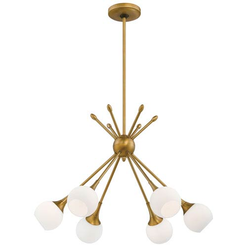 Pontil Honey Gold Six-Light Chandelier