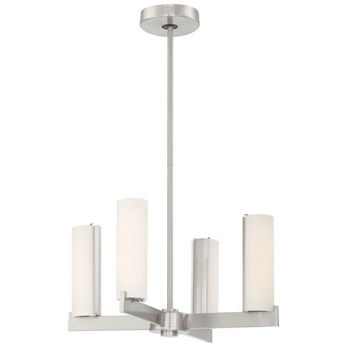 Tube Brushed Nickel Four-Light LED Chandelier (Convertible to Semi Flush)