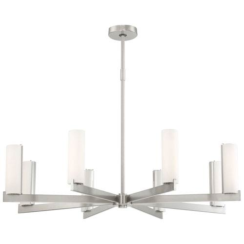 Tube Brushed Nickel Eight-Light LED Chandelier