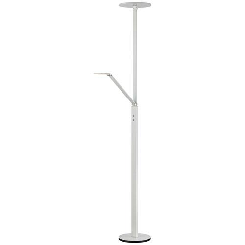 White One Light Torchiere Floor Lamp