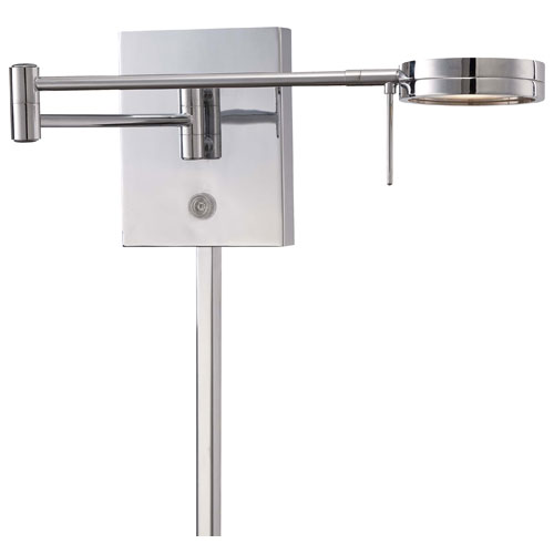 Chrome LED Swing Arm Wall Lamp w/Steel Shade