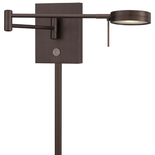 Copper Bronze Patina LED Swing Arm Wall Lamp w/Steel Shade
