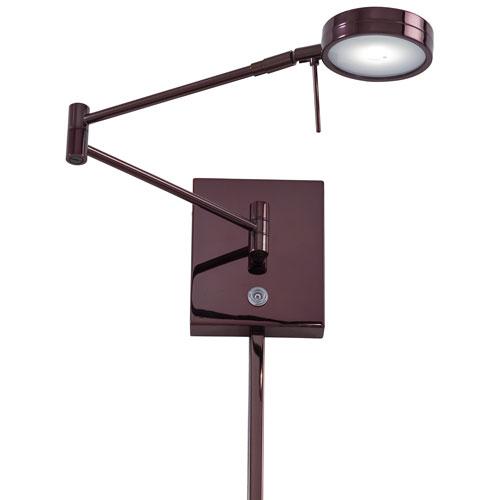 Chocolate Chrome LED Swing Arm Wall Lamp w/Steel Shade