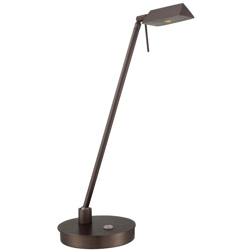 Copper Bronze Patina LED Table Lamp w/Steel Shade