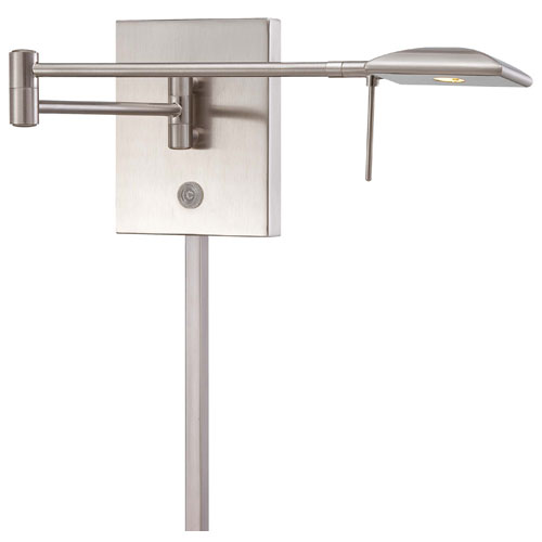 Brushed Nickel LED Swing Arm Wall Lamp w/Steel Shade