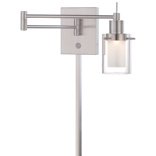 Brushed Nickel 16-Inch One-Light LED Swing Arm Lamp