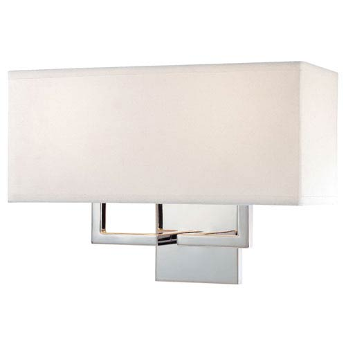Chrome Two-Light Wall Sconce with Off-White Linen Shade